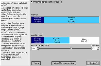 Windows partíció átméretezése a telepítés során