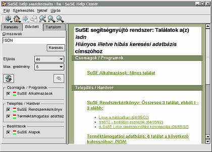 A SuSE Linuxhoz mellékelt kézikönyvek anyagában is kereshetünk