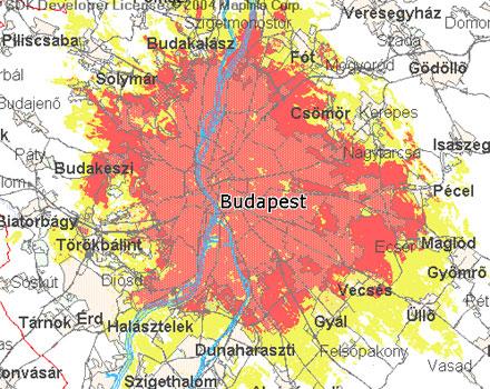 Vodafone 3G lefedettségi térkép