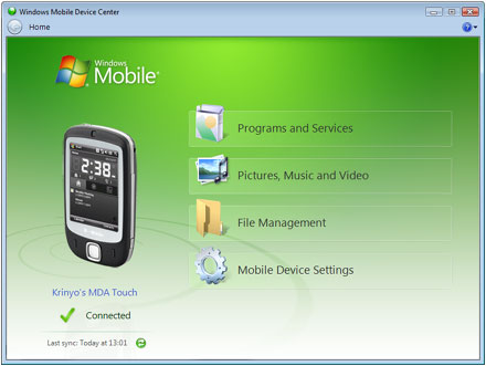 T-Mobile MDA Touch Vista alatt