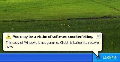 Microsoft Windows XP Genuine Advantage Notification