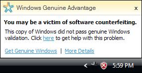 Microsoft Windows Vista Genuine Advantage Notification