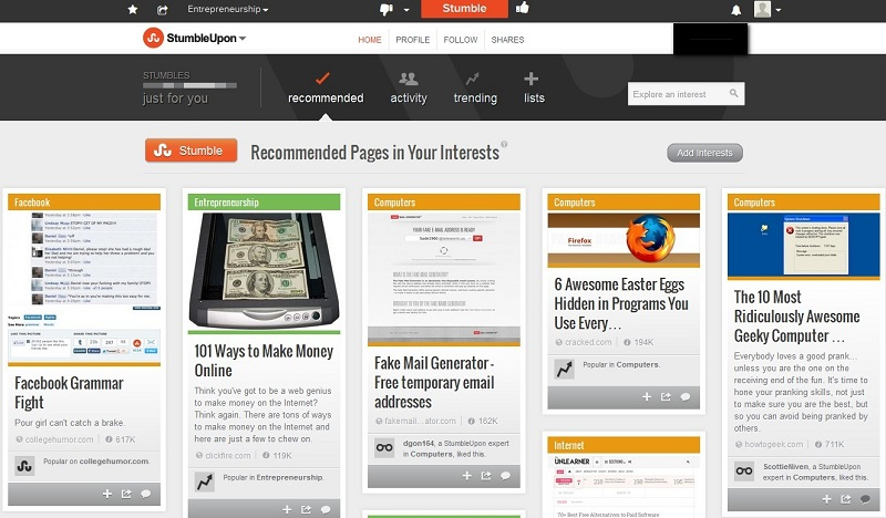 StumbleUpon-pages